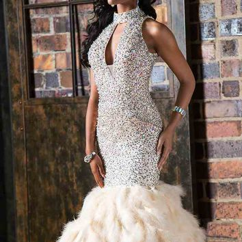 Jovani Beaded Halter Dress 22294