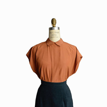 Vintage 80s Copper Blouse with Center Pleat / Button-back Shirt - women's medium