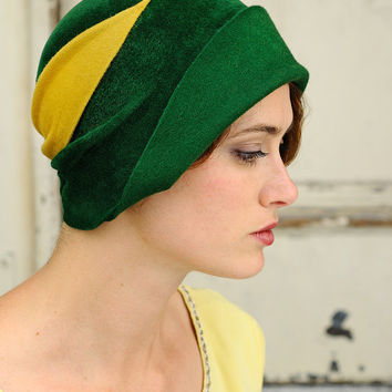 Green Cloche  vintage yellow detail made to order by yellowfield7