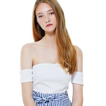 LE3NO Womens Stretchy Short Sleeve Off Shoulder Ribbed Crop Top