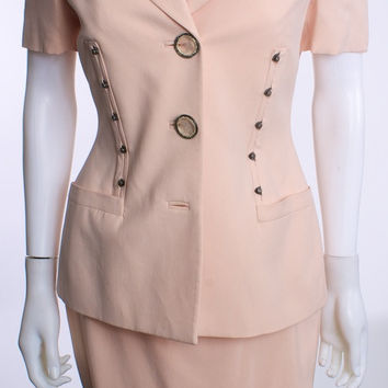 GIANNI VERSACE COUTURE PEACH 2 PIECE SUIT SZ 42 EUR VINTAGE