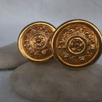 Vintage Maxine Denker Gold Cilp on Earrings 1960's