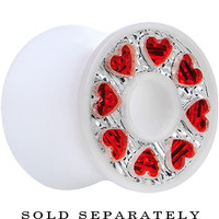00 Gauge White Acrylic Crystal Red Heart Tunnel Plug | Body Candy Body Jewelry