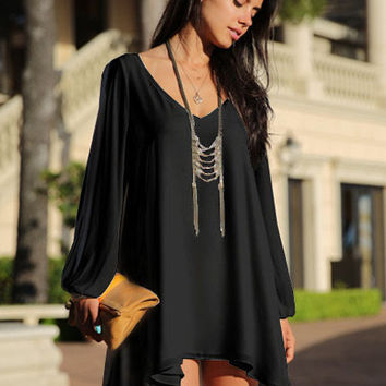 V-Neck Long Sleeve Cut-Out Asymmetrical A-Line Chiffon Mini Dress