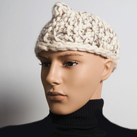 Mens white knit hat - Ready to ship - Mens OOAK hat -  Ivory crochet hat for men - Mans chunky knit - Fashion knit hat - Teen boy hat