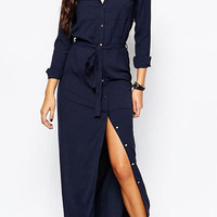 Navy Buttoned Tie Waist Shirt Longline Dress