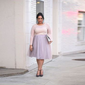 Plus Size Women Skirts Custom Made A Line Knee Length Tulle Skirt Light Lavender Soft Tutu Skirt With Lining