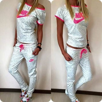 """""""NIKE"""" Fashion Casual Multicolor Letter Print Round Neck Short Sleeve Set Two-Piece Sportswear"""