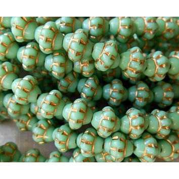 Lot of 25 Czech glass small 5mm x 6mm opaque milky mint, turquoise green saturn or saucer beads with gold accents, spacer beads C7625