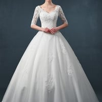 V-Neck Appliqued A-Line Wedding Dress