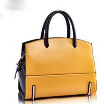 Multi-Color Large Genuine Leather Tote Handbag