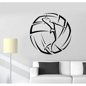 Vinyl Wall Decal Volleyball Sport Girl Ball Logotype Stickers (2287ig)