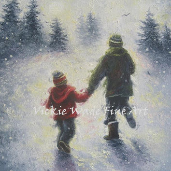 Dad Son Snow Play Art Print, two boys, two brothers, father and son, playing in snow, snow painting, winter wall art, vickie wade art