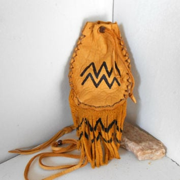 Medicine Pouch, Medine Bag With Fringe, Handmade by Lakota Artist, Native American, Hippie, Boho, Tribal, Mountain Man, Powwow, OOAK