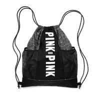PINK Mesh Pocket Drawstring Gym Backpack