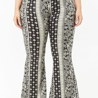 Plus Size Floral & Mosaic Flared Pants