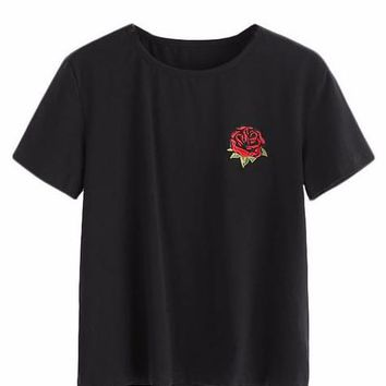Embroidery Rose T-Shirt