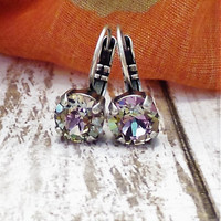 SWAROVSKI CRYSTAL EARRINGS, drops, dangles, light vitrail, purple, turquoise, 8mm, lever backs, bracelet, dksjewelrydesigns
