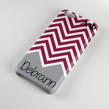 Alpha Phi sorority phone case for Iphone and Samsung, Silver bordeaux chevron, Monogram gift for big and little sister, A Phi alumna (1134)