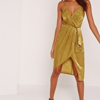 Missguided - Silky Strappy Wrap Over Midi Dress Yellow