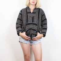 Vintage 1990s Black Gray Textured Striped Baja Hoodie Drug Rug 90s Surfer Skater Hippie 90s Poncho Boho Pullover Jacket S Small M Medium