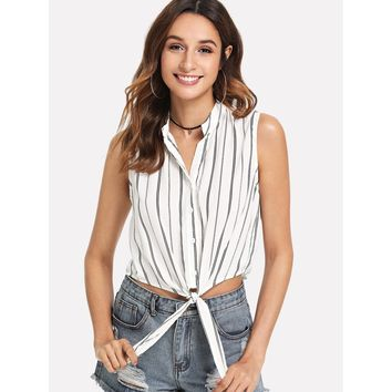 White Button Up Striped Knot Mock Top