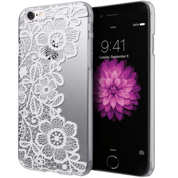 FASHION 1PC Slim Lace Floral Flower Clear Hard Case for iphone 6 Protective Cover Skin For iPhone6 4.7Inch Christmas Gift A19