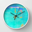 Turquoise and Orange Abstract Art Painting Wall Clock by T30 Gallery