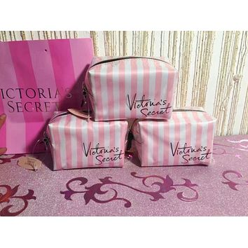 Victoria's secret Women Fashion Shopping Cosmetic Bag Leather Handbag Satchel Cosmetic Bag