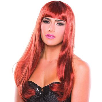 Auburn Red Solid Color Pop Diva Bangs Wig