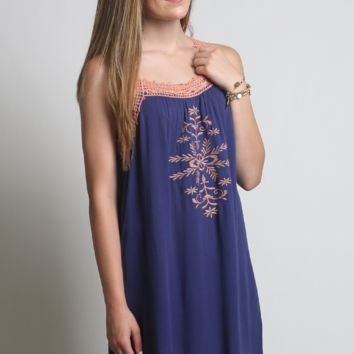 Kori America Floral Embroidered Dress
