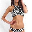 Black and White Triangle Print Halter Bikini