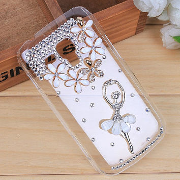 white Ballet girl rhinestone flowers clear protective phone case for samsung s7562 duos