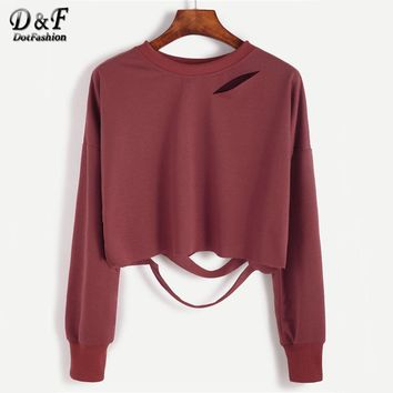 Brick Red Long Sleeve T-shirts Cut Out Crop Top Autumn Women Solid Tops Drop Shoulder Sexy O Neck Casual T-shirt