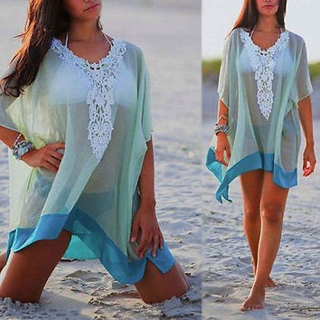 Deep V-Neck Beach Tunic Bathing Suit Coverups Cotton Bikini Cover Ups Women Swimsuit Covers up Beachwear