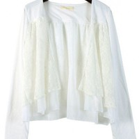 Collarless White polyester lace long sleeve cardigan  cardigan type   style zz92703002 in  Indressme