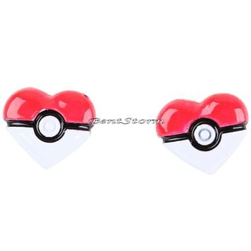 Licensed cool Pokemon Poke Ball Pokeball Heart Earrings Stainless Steel Post Insertion Studs