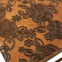 Sandy Brown Floral Embossed Notebook with Handmade Pape