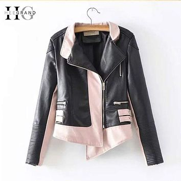 HEEGRAND 2018 Autumn PU Leather Jacket Women Windbreak Jackets Patchwork Motorcycle Short Coats Irregular Leather Outwear WWP213 Macchar Cosplay Catalogue