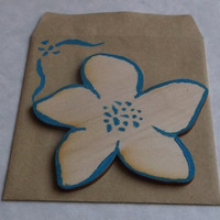Wooden Flower Card With Envelope, Plain or Decorated by Hand, Customizable