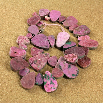 Cobalto Druzy Matte Rough Oval Beads - Pink Top Drilled Natural Stone Beads, 16 inch strand