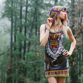 Short Day Tripper Hoodie Dress, Enchanted Brown, Festival Clothing, Hippie, Tribal, Burning Man, Mini Dress