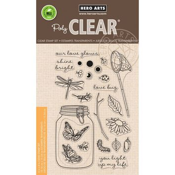 "Hero Arts Clear Stamps 4""""X6""""-Mason Jar Bugs"