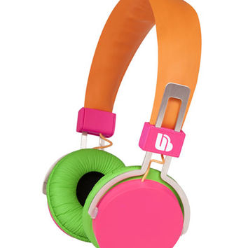 Neon Over Ear Headphones - Orange/Pink/Green