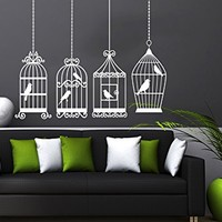Wall Decal Vintage Bird Cage Vinyl Sticker Decals Birdcage Birds on Branch Bedroom Dorm Nursery Home Decor Art Design Interior NS1048