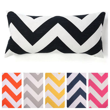 Decorative Chevron Zig Zag Lumbar Pillow Cover Available In 3 Different Sizes and Several Colors