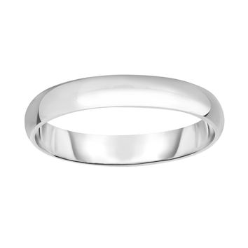 Silver with Rhodium Finish 4.0mm Shiny Wedding Band+Thumb Size 6 Ring