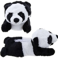 Adult M Size Unisex Black White Panda Animal Plush Fuzzy Slippers