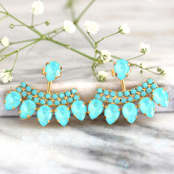 Ear Jacket Earrings,White Crystal Turquoise,Swarovski Ear Jacket Earrings,Swarovski Earrings, Earrings For Brides, Bridal Something Blue