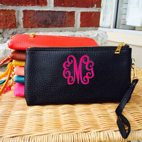 Monogram Black Wristlet Wallet Leather like Font shown INTERLOCKING in bright pink